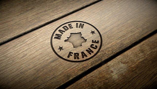 Made in France wood engraving. Embossed stamp.