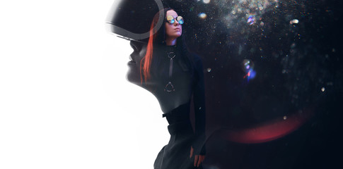 Wall Mural - Double exposure of female face. Abstract woman portrait. Digital art. Girl in glasses of virtual reality. Augmented reality, dream, future technology, game concept. VR.