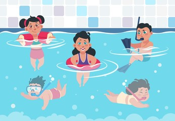 Swimming kids. Cartoon happy children in a pool, flat boys and girls swimming and playing in swimwear. Vector illustration summer activities training swim underwater
