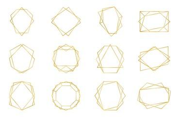 Golden geometric frame. Luxury wedding invitation polyhedron art deco elements, modern border shape. Vector decorative abstract shapes templates for design wedding invitation