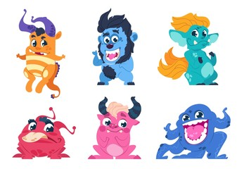 Cartoon monsters. Cute little angry animals, mascot characters with smiles and troll faces for stickers and emblems. Vector goblin set party on birthday for kids