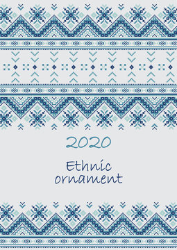2020 Cover of Calendar planner with ethnic cross-stitch ornament Week starts on Sunday Collection of Balto-Slavic ornaments