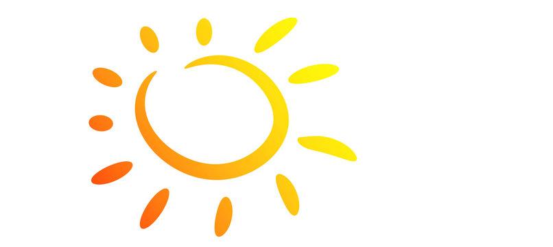 estate, sole, vettoriale, icona, stilizzato,