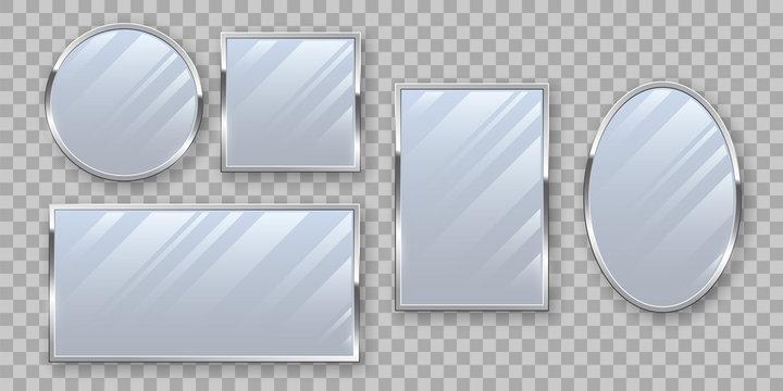 Silver makeup mirrors mockup vector set