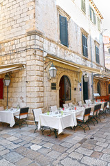 Restaurant Outdoor seatings at Dubrovnik, Croatia.  Old Town.  White Linen Dining