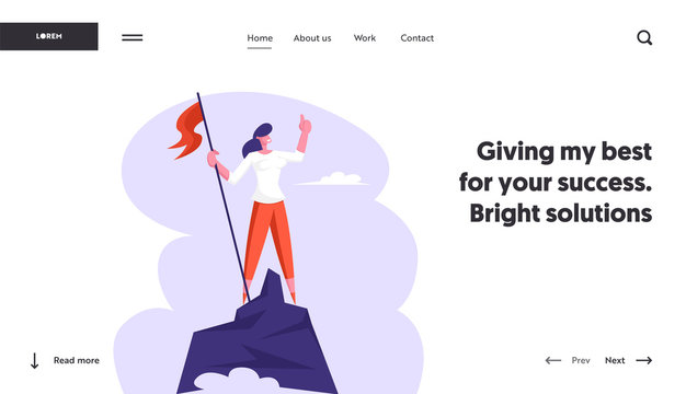 Businesswoman Hoisted Red Flag on Mountain Top. Business Woman on Peak of Success. Leadership, Winner, Goal Achievement, Concept Website Landing Page, Web Page. Cartoon Flat Vector Illustration Banner
