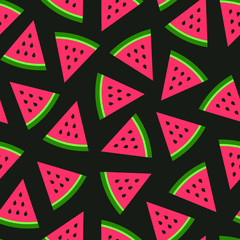 Watermelon seamless pattern on black background