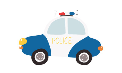 Colorful illustration, kids toy police car/ Vector illustration for prints, cards, posters, decorations and other child designs