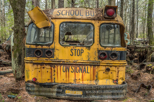 White, Georgia/USA-3/28/18 Old school bus