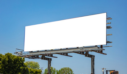 Billboard blank on a highway for advertisement, spring sunny day