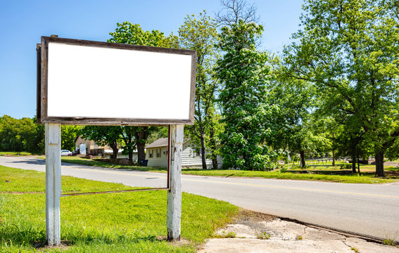 Billboard blank white for advertisement, old weathered at Amarillo Texas, spring sunny day