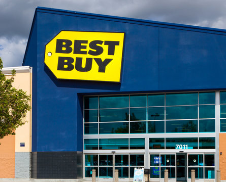 Best Buy Store Exterior and Trademark Logo