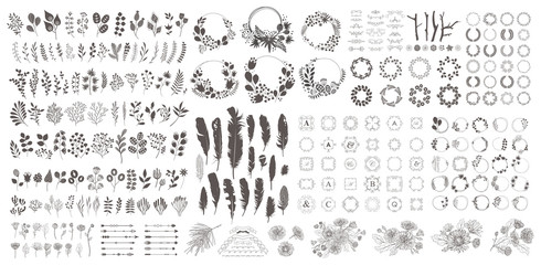 Big set with wreath, design elements, frames, calligraphic. Vector floral illustration with branches, berries, feathers and leaves. Nature frame on white background. Fototapete