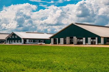 Modern barns at diary farm