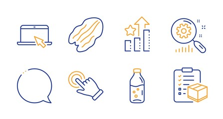 Speech bubble, Touchscreen gesture and Portable computer line icons set. Pecan nut, Search statistics and Ranking stars signs. Water bottle, Parcel checklist symbols. Line speech bubble icon. Vector