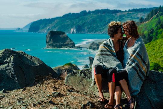 Couple enjoying a coastal view
