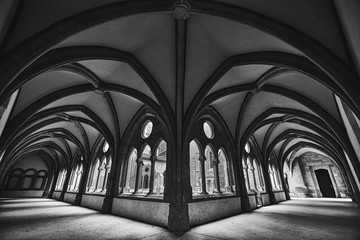 Beautiful wide shot of a medieval fantasy hallway in black and white