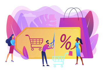 Customer attraction marketing. Shopping sale. Rewards scheme. Markdown program, promotional discount program, lowest price guarantee concept. Bright vibrant violet vector isolated illustration - fototapety na wymiar