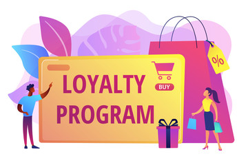 Rewards scheme for customers. Marketing strategy. Clients attraction. Loyalty program, personalized promotion, use your purchase history concept. Bright vibrant violet vector isolated illustration