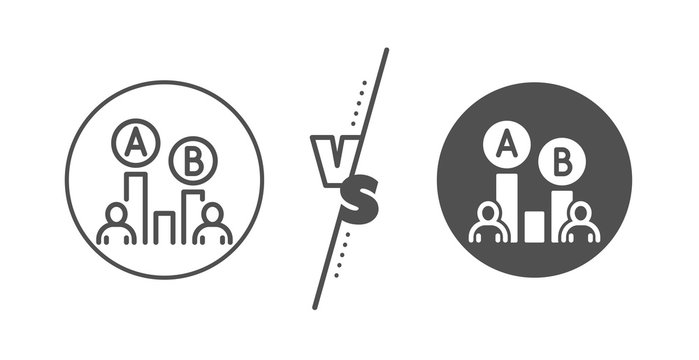 Ui test chart sign. Versus concept. Ab testing line icon. Line vs classic ab testing icon. Vector