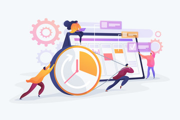 Workflow organization. Teamwork process. Deadlines respect. Efficient workday. Time management, effective time spending, time planning concept. Vector isolated concept creative illustration.