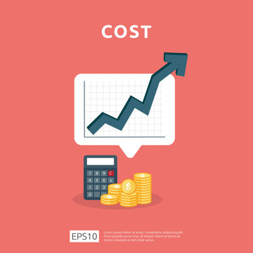 cost fee spending increase with arrow rising up growth diagram. business cash reduction concept. investment growth progress with calculator element in flat design vector illustration
