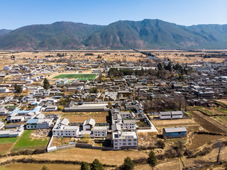 Aerial view of the Baisha traditional village in the Lijiang