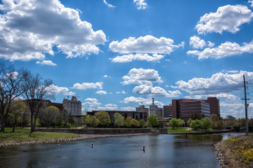 Flint, Michigan skyline and the Flint River. Known widely for their water quality and safety issues. Shot in on a beautiful spring day.