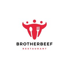 brother beef people group human fork spoon bull cow head logo vector icon illustration
