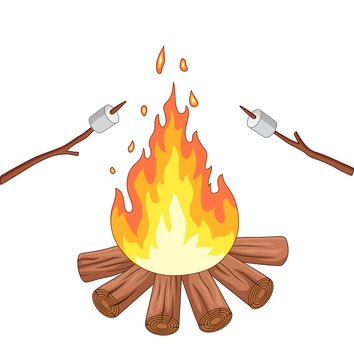 Campfire and marshmallow roast on a stick