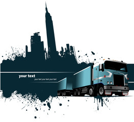 Grunge blot banner with town and truck images