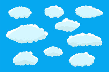 Poster Ciel Set of clouds. Abstract blue summer clouds.Weather clouds collection isolated on blue background.