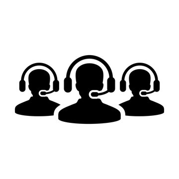 Customer service icon vector male business support person profile avatar with headphone for online assistant in glyph pictogram illustration