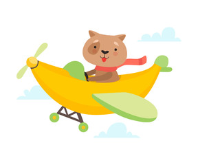 Cute Dog Flying on Airplane Made of Banana, Funny Adorable Animal in Transport Vector Illustration