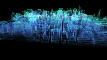 Futuristic holographic city digitally generated image virtual reality matrix particles in cyber space background environment