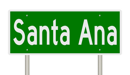 Rendering of a green highway sign for Santa Ana California