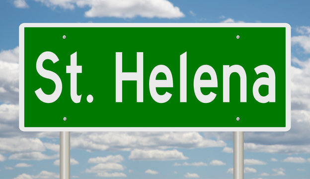 Rendering of a green highway sign for St. Helena California