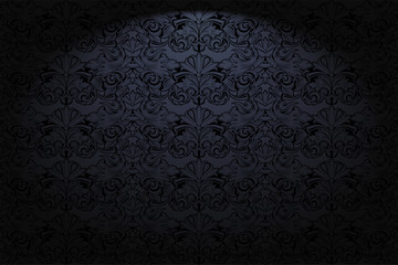Royal, vintage, Gothic horizontal background in black with a classic Baroque pattern, Rococo.With dimming at the edges. Vector illustration EPS 10