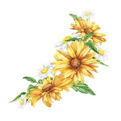 Beautiful floral hand drawn watercolor bouquet illustration, bunch of yellow flowers arrangement, with daisies and sunflowers on white background. Can be used for invitations or wedding design.