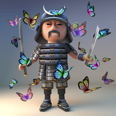 Fotobehang Indiërs Cartoon samurai warrior from Japan with two katana swords stands amidst a swarm of butterflies, 3d illustration