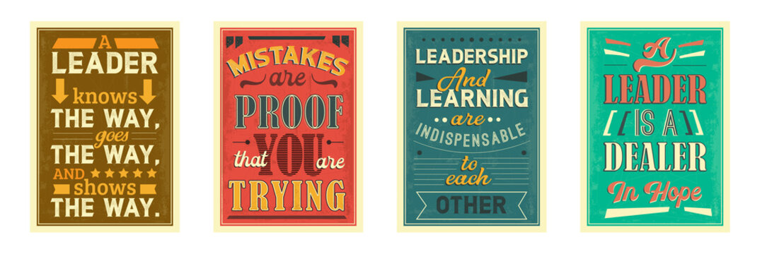 Motivational posters vector templates set. Inspirational retro placard designs for office, room. Leadership, self development, personal growth creative banners pack with stylized lettering