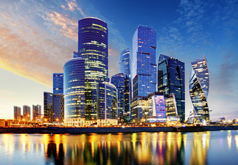 Fotomurales - Moscow city, Russia. Moscow International Business Center at sunset