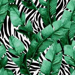 Aluminium Prints Watercolor Nature Banana leaf on animal print seamless pattern. Unusual tropical leaves, tiger stripes background
