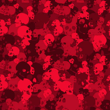 Skull camo seamless pattern. Camouflage in red colors. Military  vector background for your design.