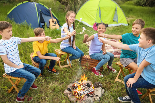 Children roasting marshmallow on fire at summer camp