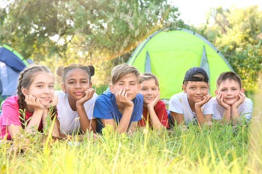 Group of children resting at summer camp