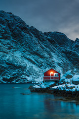 Photo sur Aluminium Bleu vert Red House Lofoten