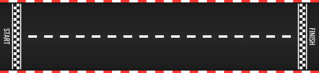 Race track with start and finish line. Car or karting road racing background. top view