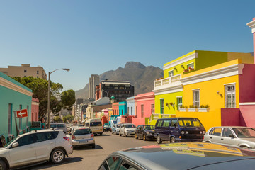 Many colorful houses in the Bo Kaap district in Cape Town, South Africa.