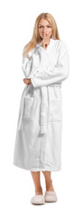 Wall Mural - Beautiful young woman in bathrobe showing silence gesture on white background